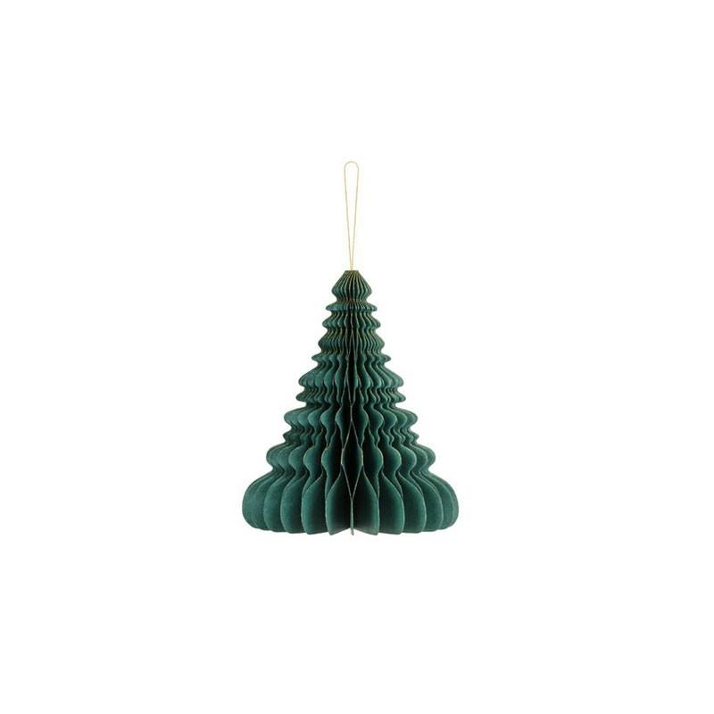 Ornamento di carta a nido d\'ape Albero di Natale verde bottiglia 15 cm BP3-15-012B