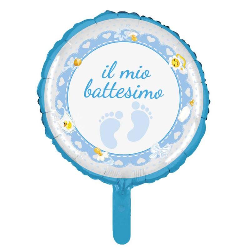 12 mini Palloncino Foil mini shape battesimo celeste 23 cm MES32