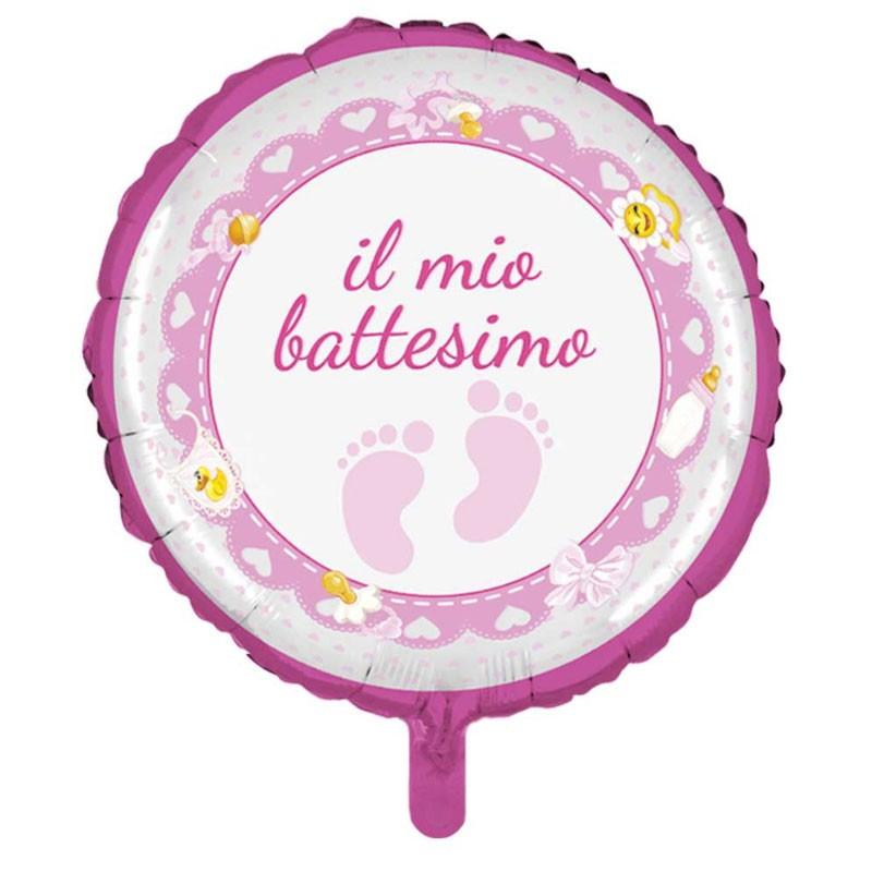 12 mini Palloncino Foil mini shape battesimo rosa 23 cm  MES31
