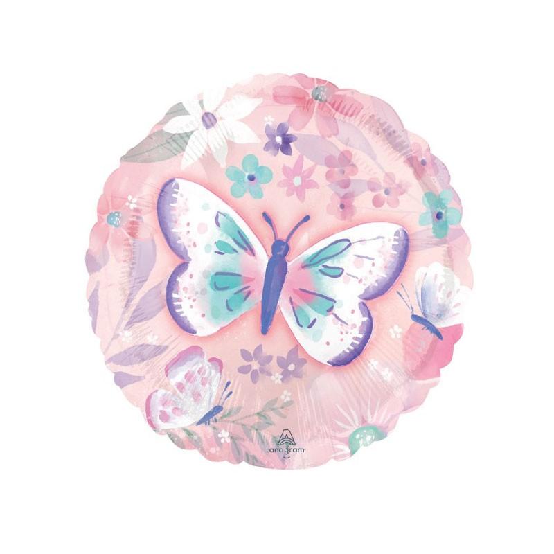 Palloncino foil tondo farfalle 43 CM 4288601