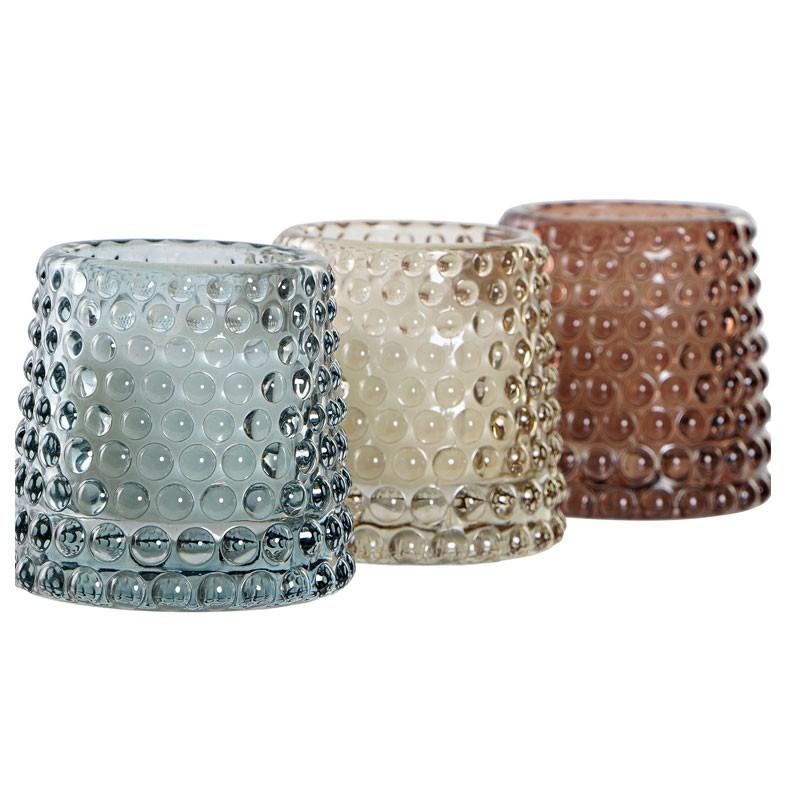 set 3 candele cristallo 7 x 7 x 7 cm VE-183195