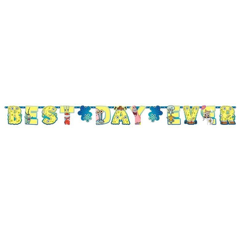 Set festone BEST DAY EVER 320 cm + Mini banner Spongebob 2 pz 122627