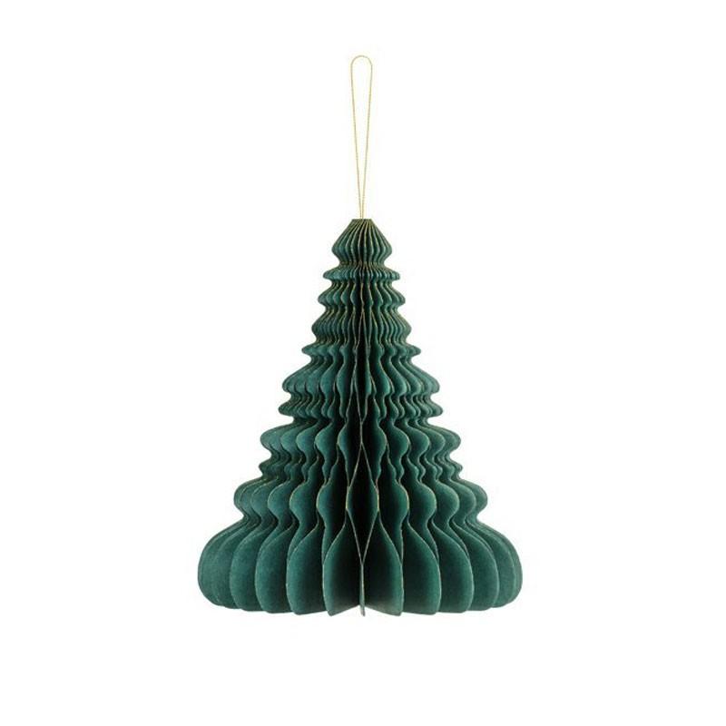 Ornamento di carta a nido d\'ape Albero di Natale verde bottiglia 24 cm BP3-24-012B