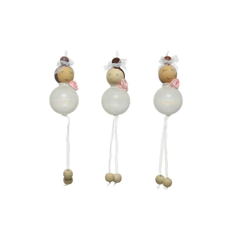 6 bamboline angioletto bianche glitterata 4 x 11 cm h 550135