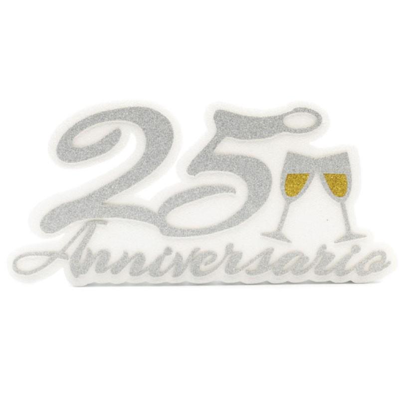 Decorazione sagomata 25° anniversario matrimonio 20 x 41 x 4 cm AN25