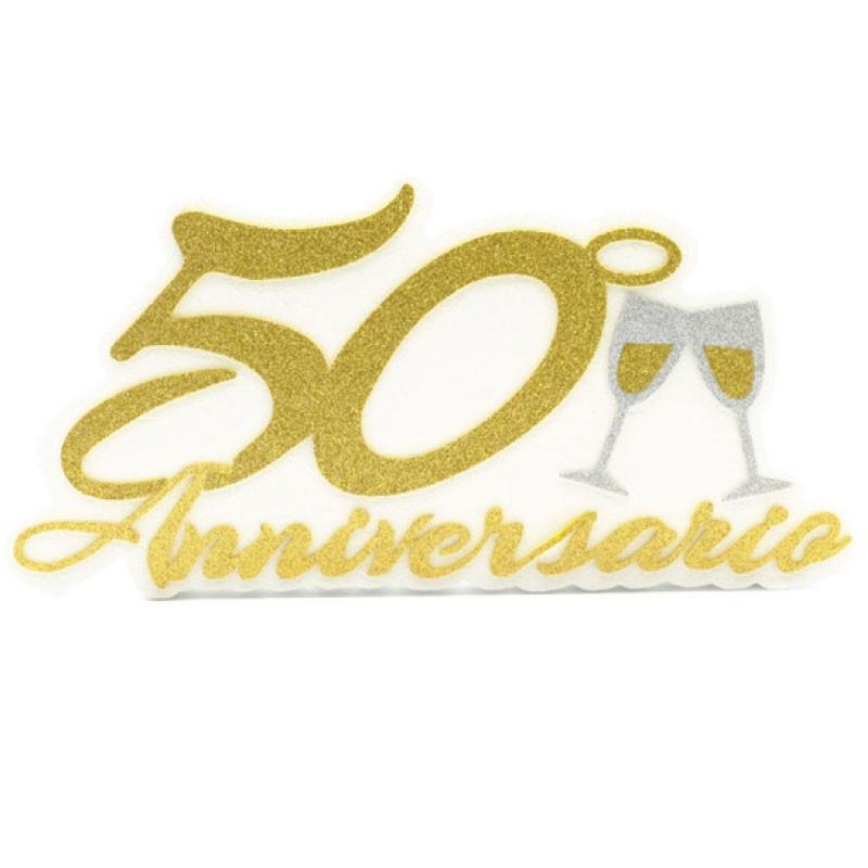 Decorazione sagomata 50° anniversario matrimonio 20 x 41 x 4 cm AN50