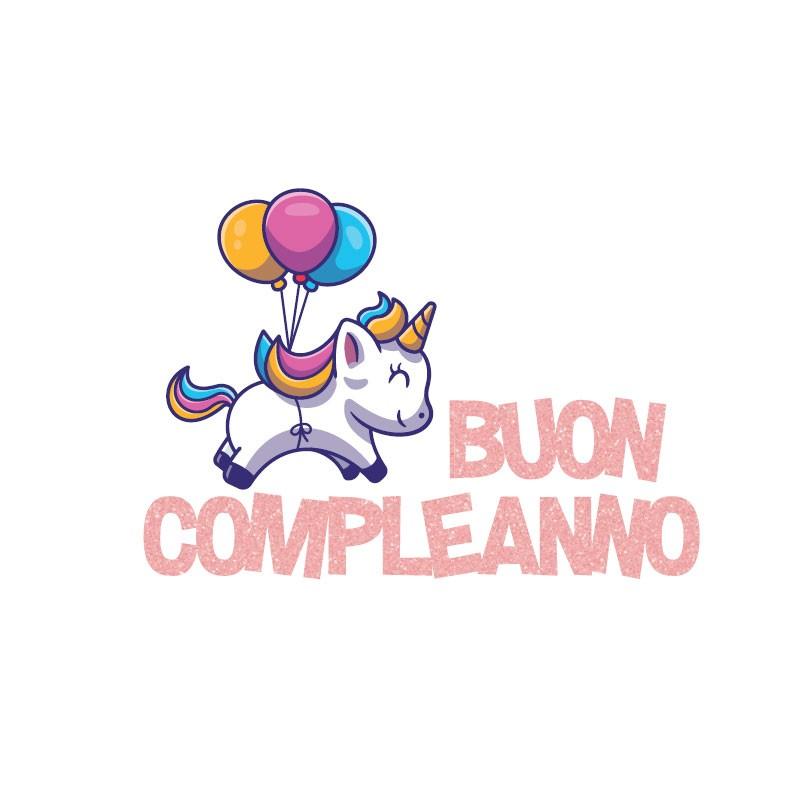 decorazione sagomata in polistirolo buon compleanno unicorno PL023 40x 29 x 5 cm
