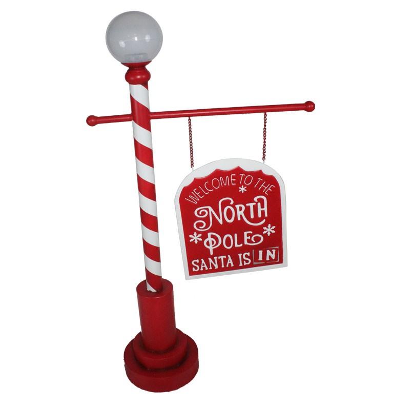 lampione decorativo insegna natalizio villaggio babbo natale 115 cm 82341
