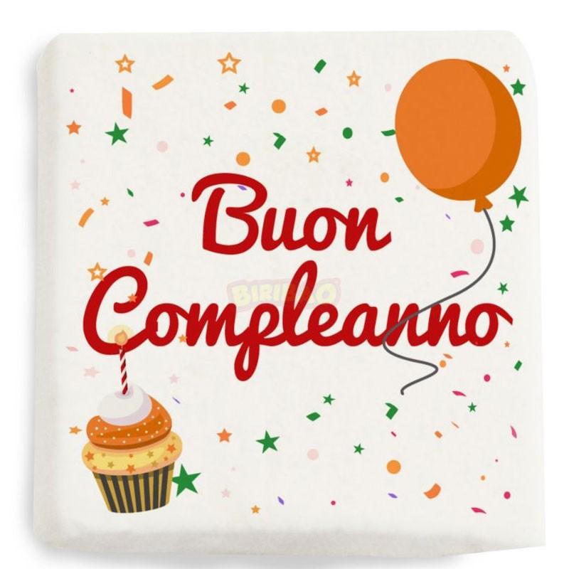 Mini Quadratino Marshmallow Stampati buon compleanno palloncini nuova grafica 20 pz - 1884