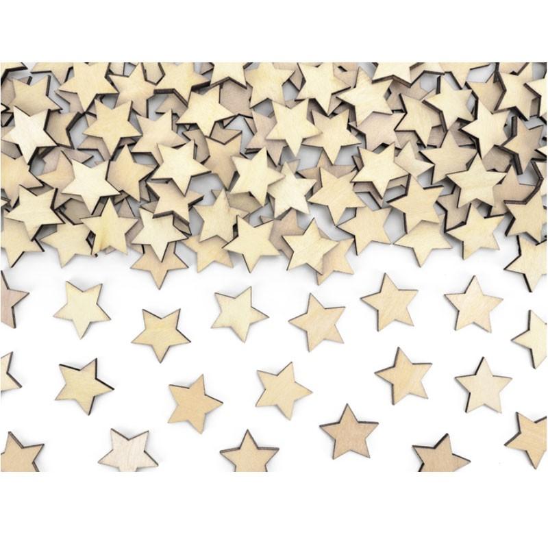 50 Coriandoli in legno a forma di stella  2 x 2 cm KONS3-100