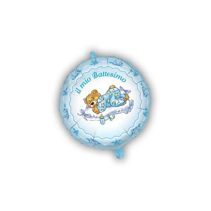 Palloncino Foil il mio battesimo orsetto celeste MEM04 45 cm
