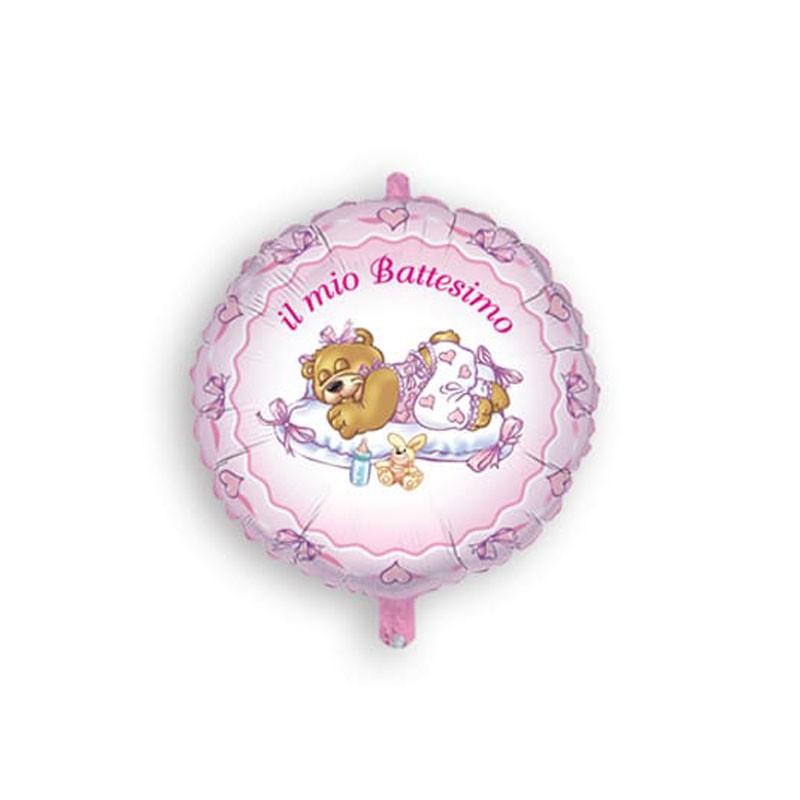 Palloncino Foil il mio battesimo orsetto rosa MEM03 45 cm
