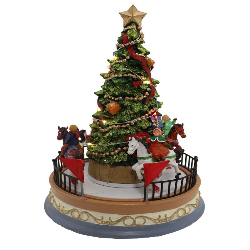 scena natalizia giostrina illuminata con movimento led e musica 62629 18 x 18 x 26 cm
