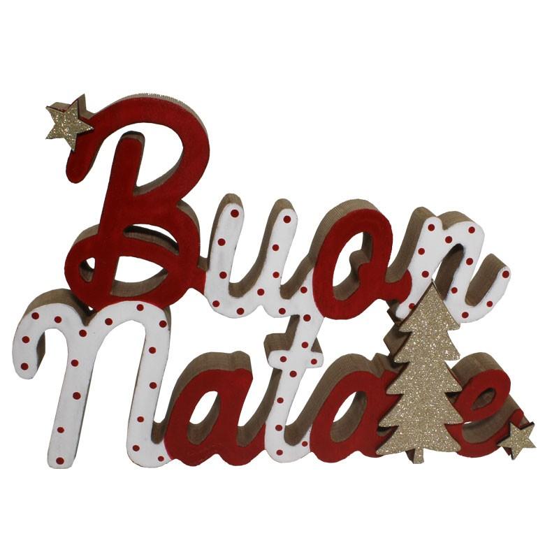 scritta decorativa in legno buon natale 22 x 16 cm 64470