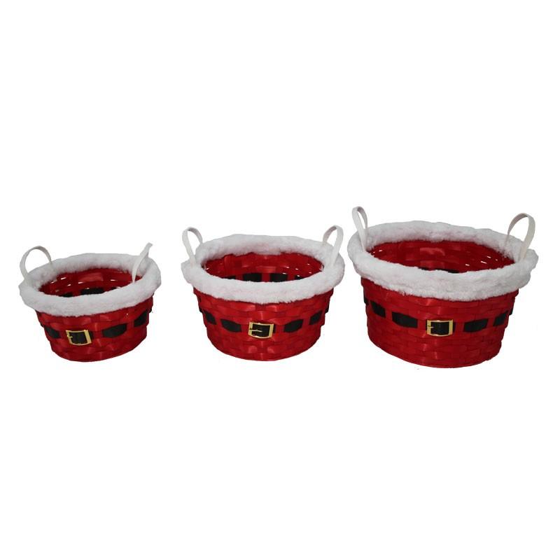 set 3 cestini tondi natalizi con bordo peluche 26 x 14 cm