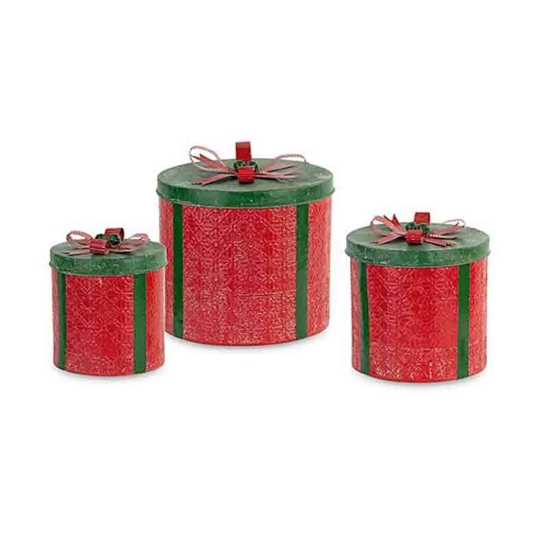 Set 3 scatole latta rosso / verde ø 210 x h 210 ø 310 x h 260 mm