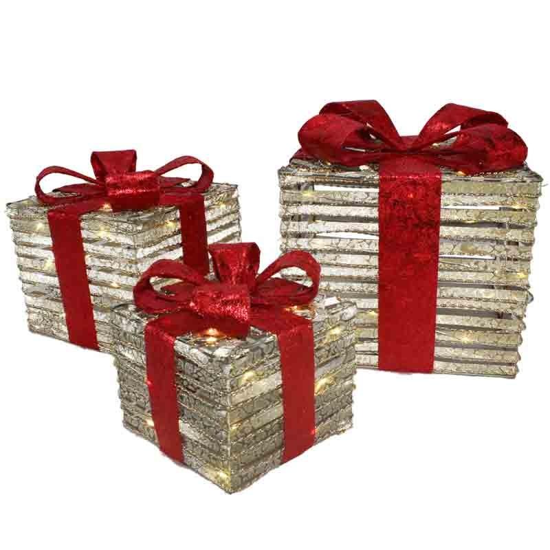 set 3 scatole luminose pacco regalo 67648 15 -20 - 25 cm