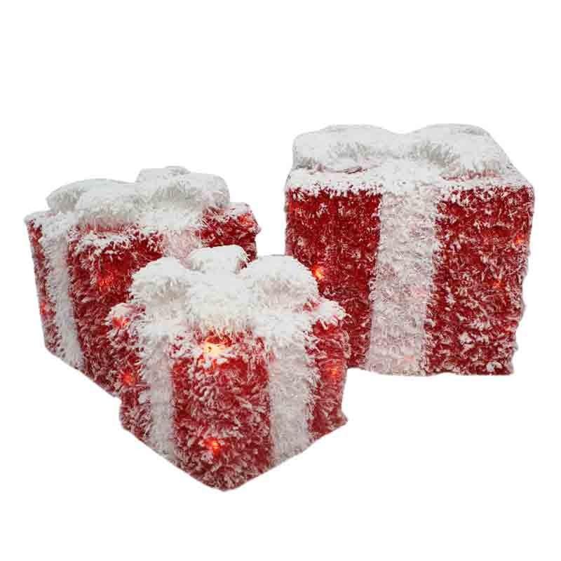 set 3 scatole luminose pacco regalo 67662 15 -20 - 25 cm
