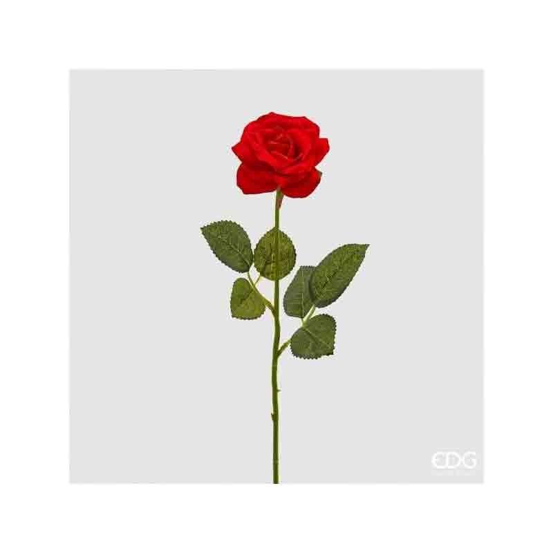 rosa singola rossa artificiale 43 cm 043-02