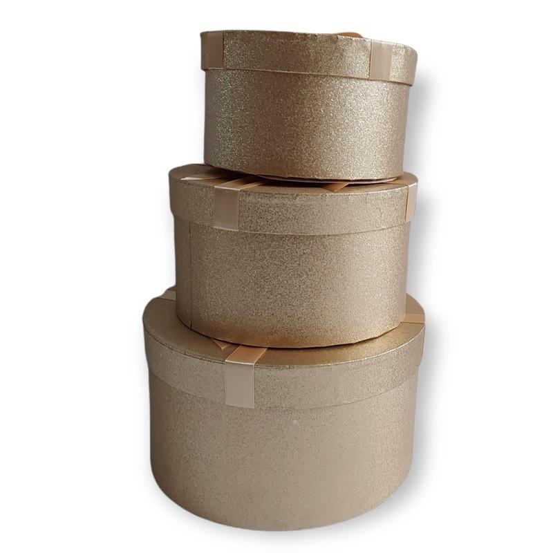 set da 3 scatole tonde in cartoncino stampato oro 72752