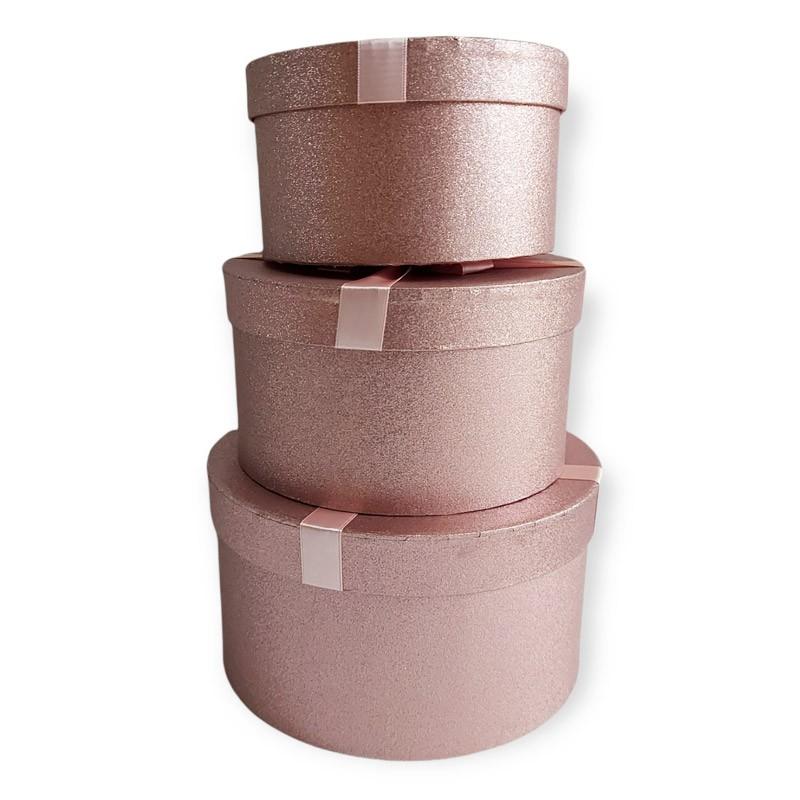 set da 3 scatole tonde in cartoncino stampato rosa 72764