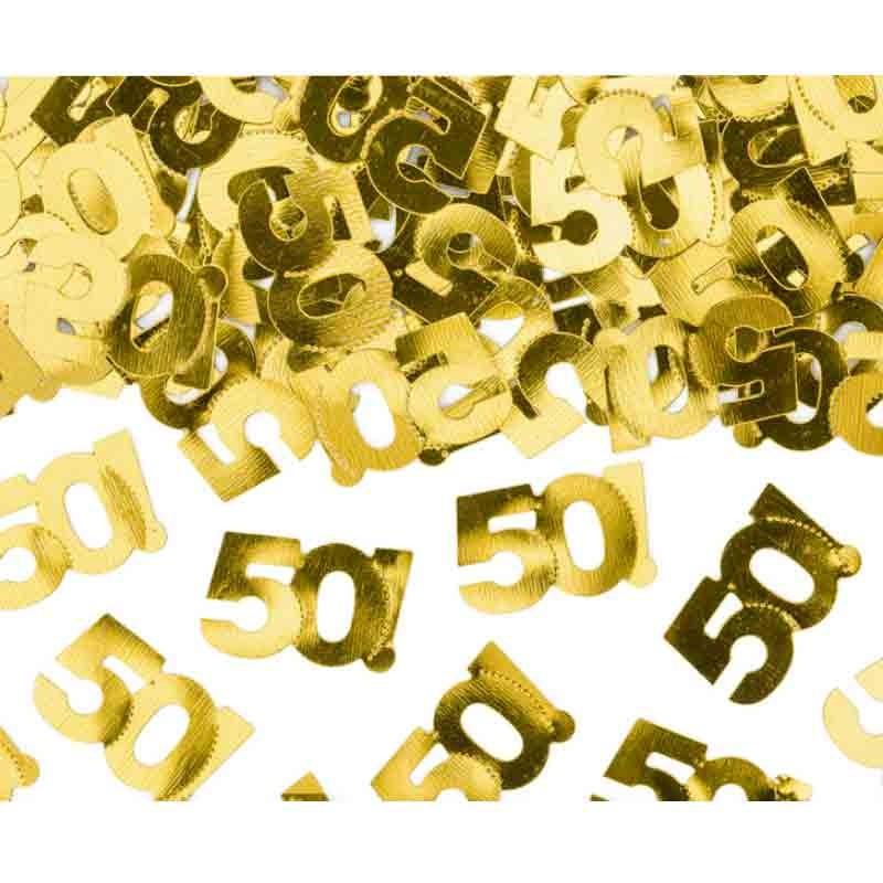 coriandoli confettti metallici numero 50 dorato 1 x 2 cm 15 g KONS35-50-019ME