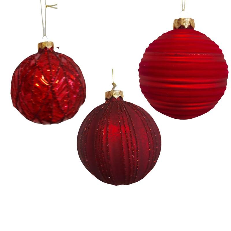 1 pallina natalizia in vetro rosso 3 mod.  assortiti dia. 10 cm 062541