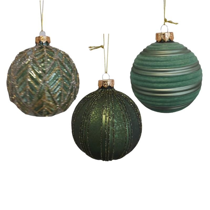 1 pallina natalizia in vetro verde 3 mod.  assortiti dia. 10 cm 062549