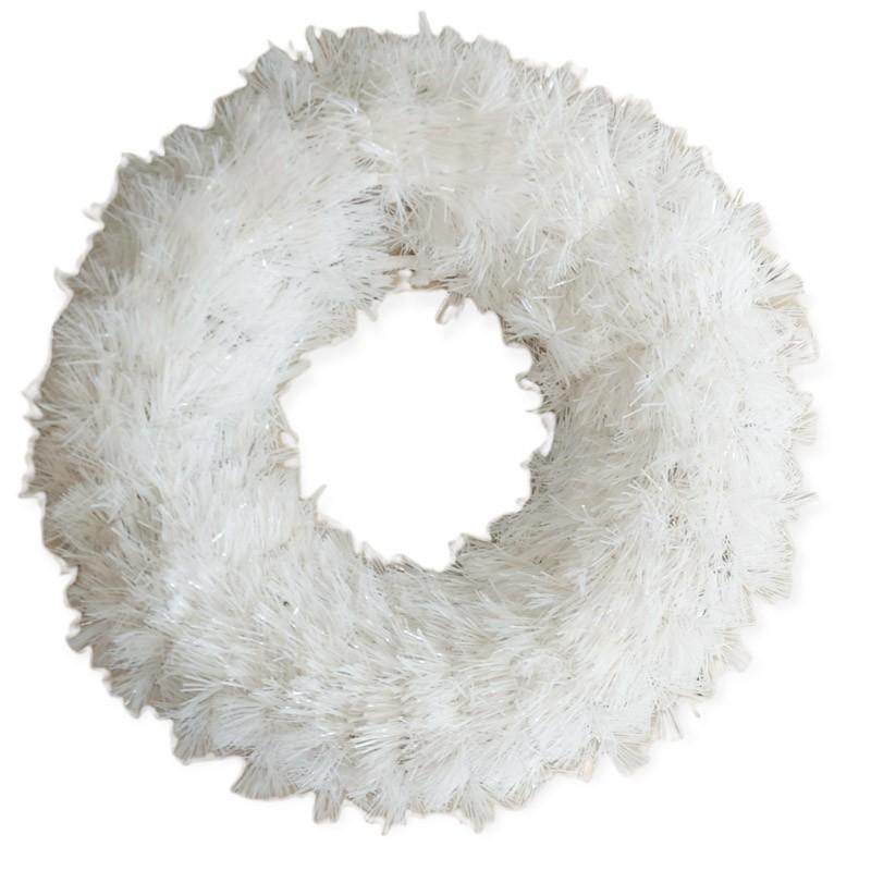 Corona natalizia fuori porta  bianca dia. 38 cm COR1/W