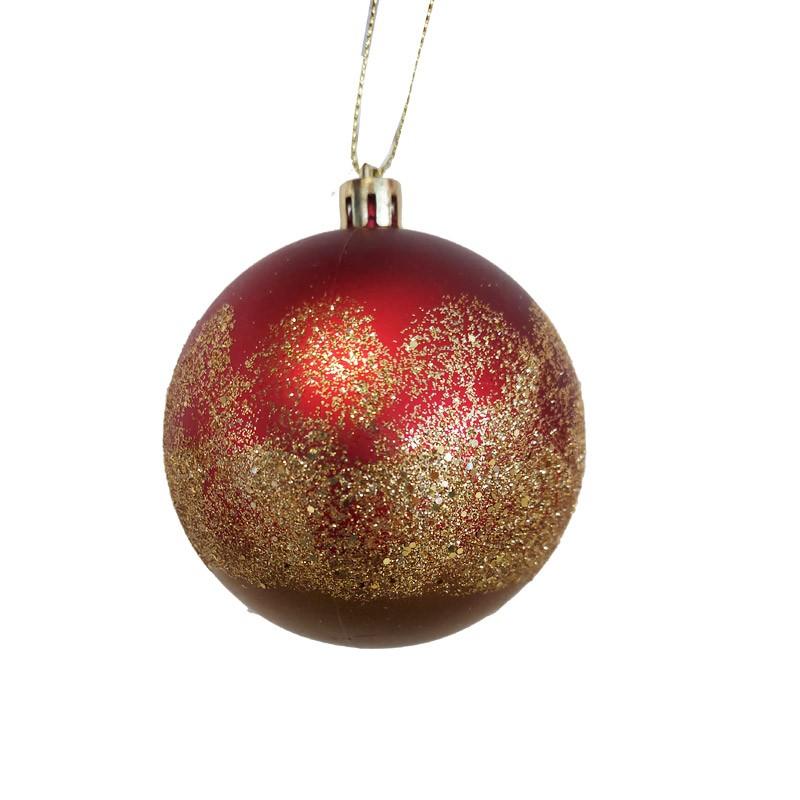 pallina natalizia rosso opaco e oro glitterato dia. 8 cm 029309