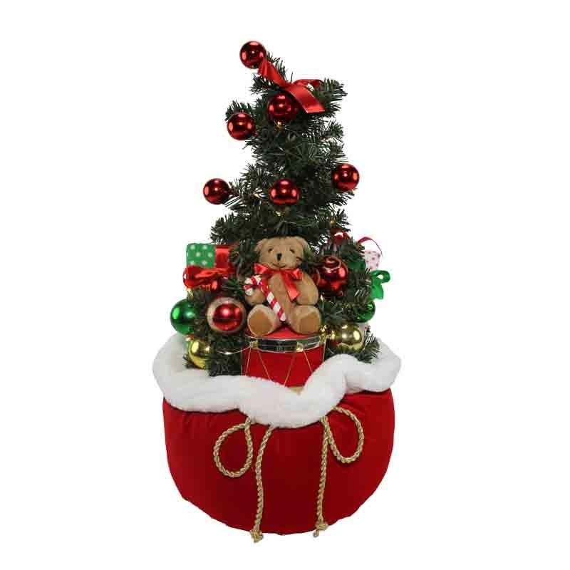 albero di natale con sacco luminoso e orsetto 60 cm 89630