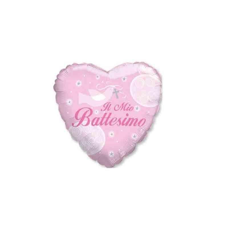 5 Palloncini mini shape Cuore Battesimo rosa 23 cm 20153-09