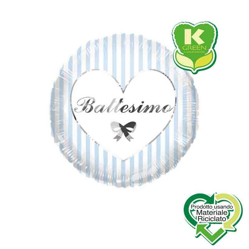 Pallone foil Battesimo Celeste e Argento con Strisce Tondo K-Green 18 \'\' 43 cm 6742709-01