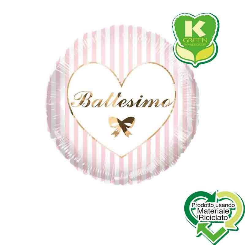 Pallone foil Battesimo rosa e Argento con Strisce Tondo K-Green 18 \'\' 43 cm 6742716-01