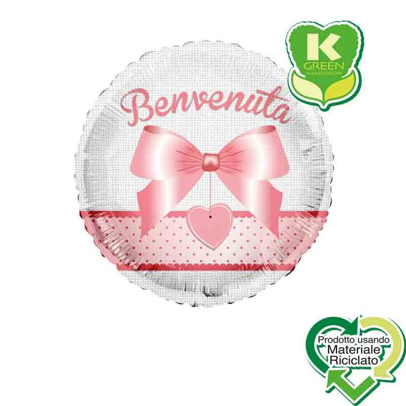 Pallone foil Benvenuto rosa Tondo K-Green 18  43 cm 6742693-01