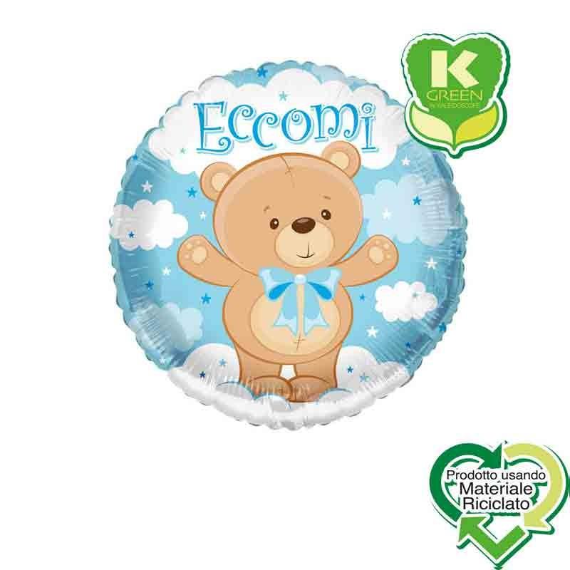Pallone foil Eccomi Orsacchiotto Fiocco celeste Tondo K-Green 18  43 cm 6743065-01