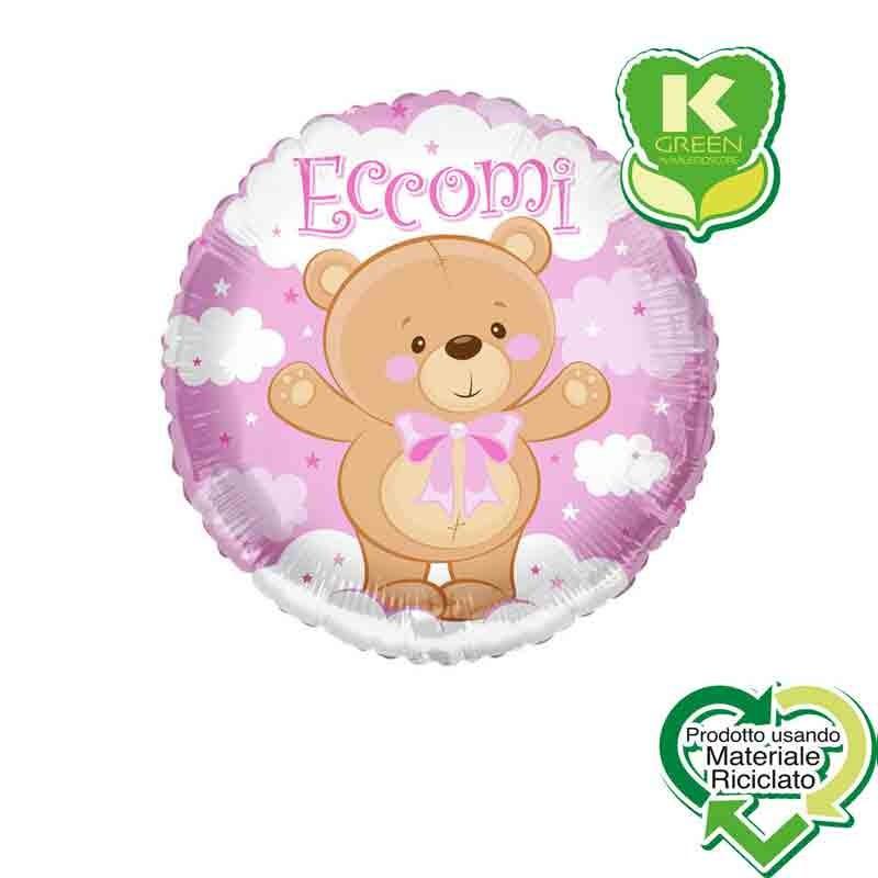 Pallone foil Eccomi Orsacchiotto Fiocco Rosa Tondo K-Green 18  43 cm 6743058-01