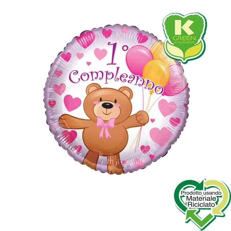 Pallone foil primo Compleanno Orsacchiotto Bimba rosa Tondo K-Green 18  43 cm 6742679-01