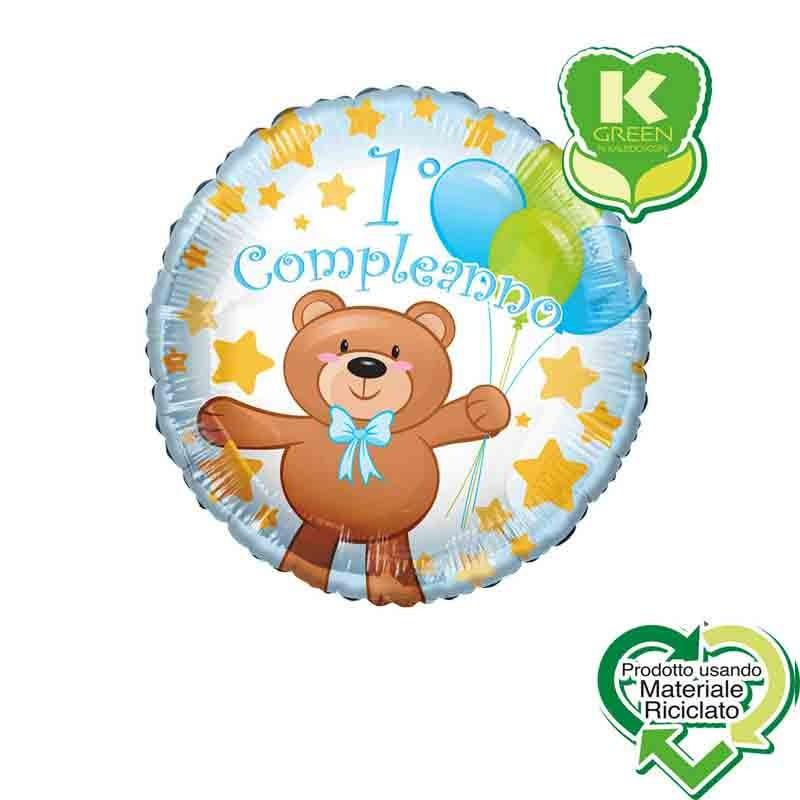 Pallone foil primo Compleanno Orsacchiotto Bimbo Tondo K-Green 18  43 cm 6742716-01
