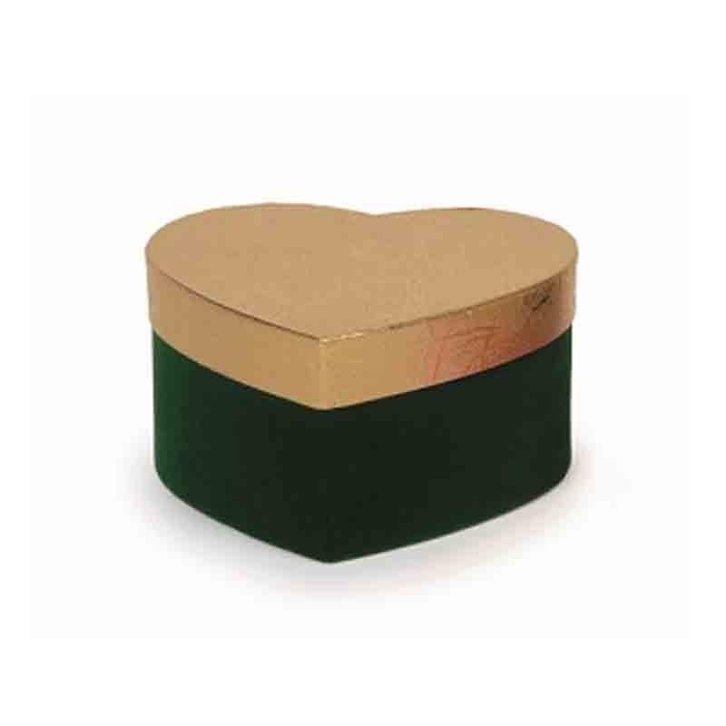 mini box cuore verde - oro 12,5 x 12,5 x 6,5 cm 22800