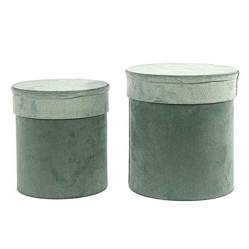 set 2 scatole tonde in velluto verde menta AN21446