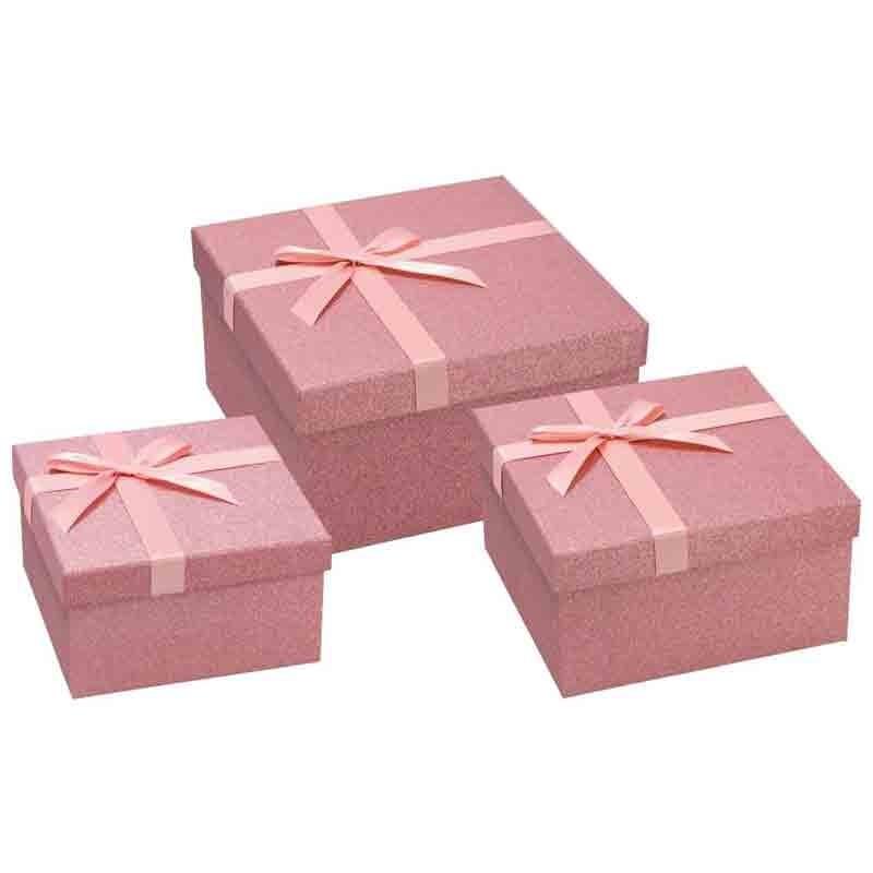 set 3 scatole quadrate rosa 72768