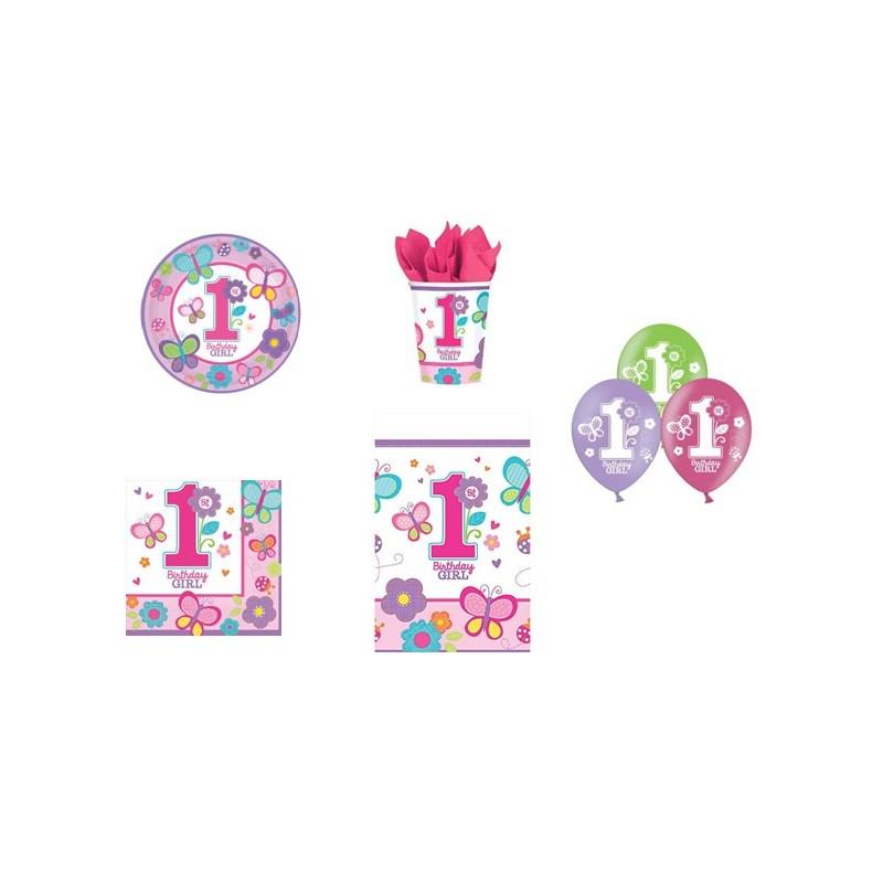 KIT N 8 1 ANNO BIRTHDAY GIRL NEW COORDINATO TAVOLA PRIMO COMPLEANNO BAMBINA