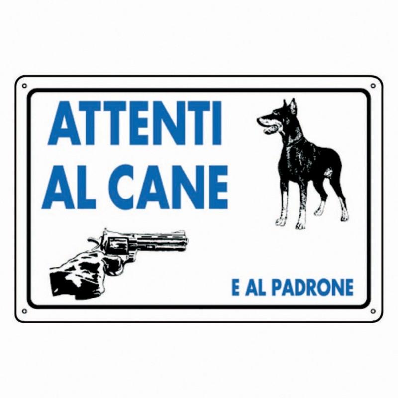 """2x CARTELLI SEGNALE """"ATTENTI AL CANE ,...E AL PADRONE"""" SEGNALETICA CANCELLO"""
