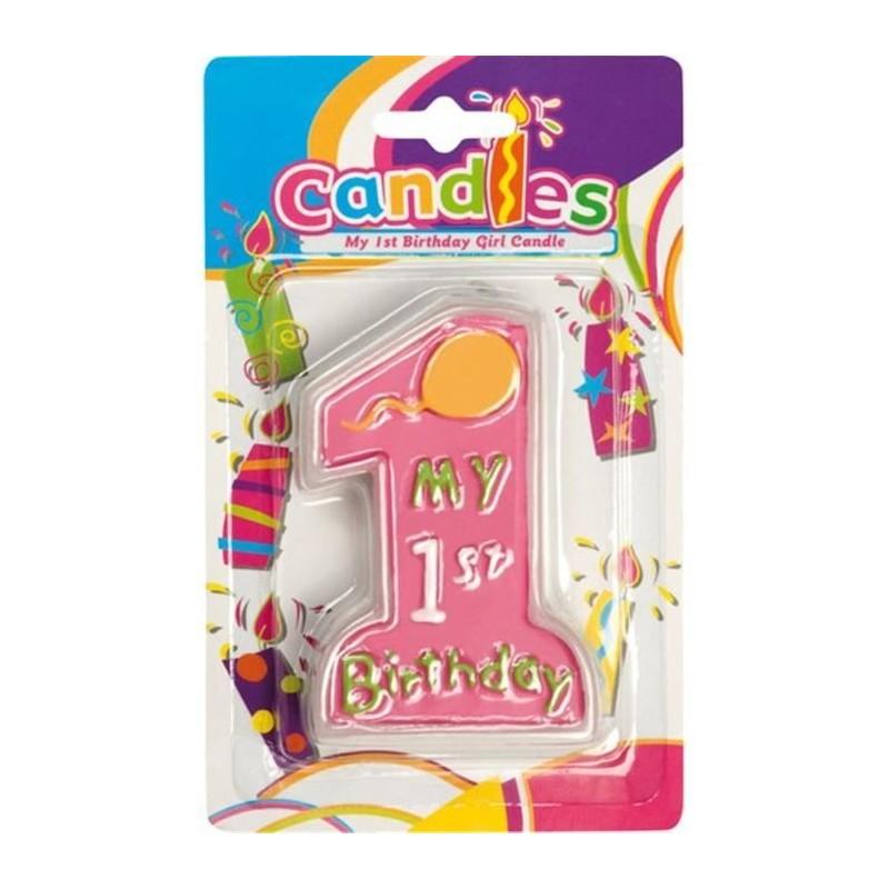 CANDELINA IN CERA 1 ANNO BIRTHDAY GIRL DECORAZIONE TORTA 1 ANNO BAMBINA