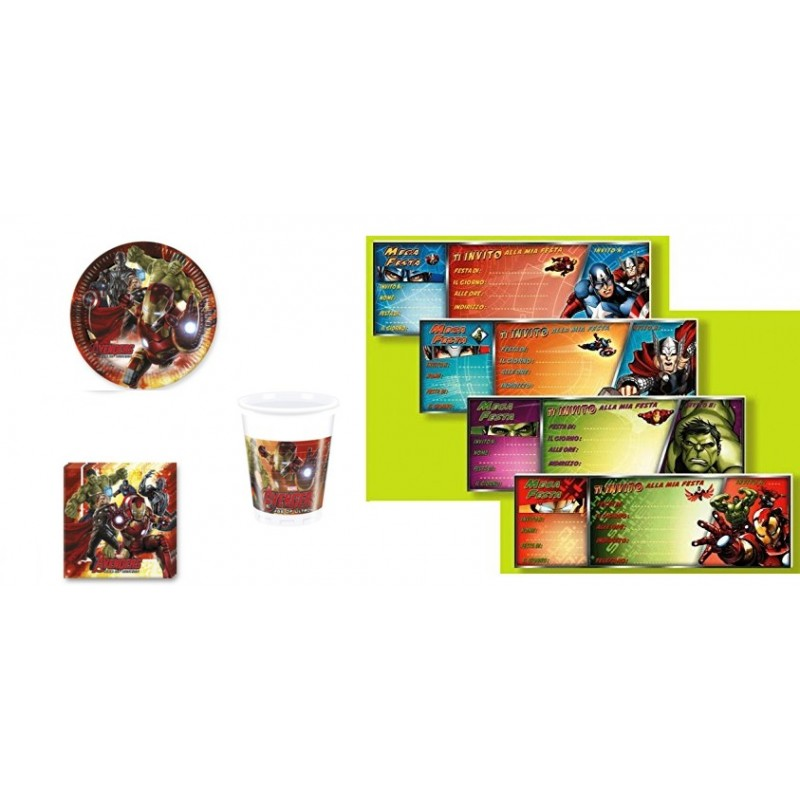 KIT 23 - 79 PZ. AVENGERS ASSEMBLE + BLOCCHETTO INVITI