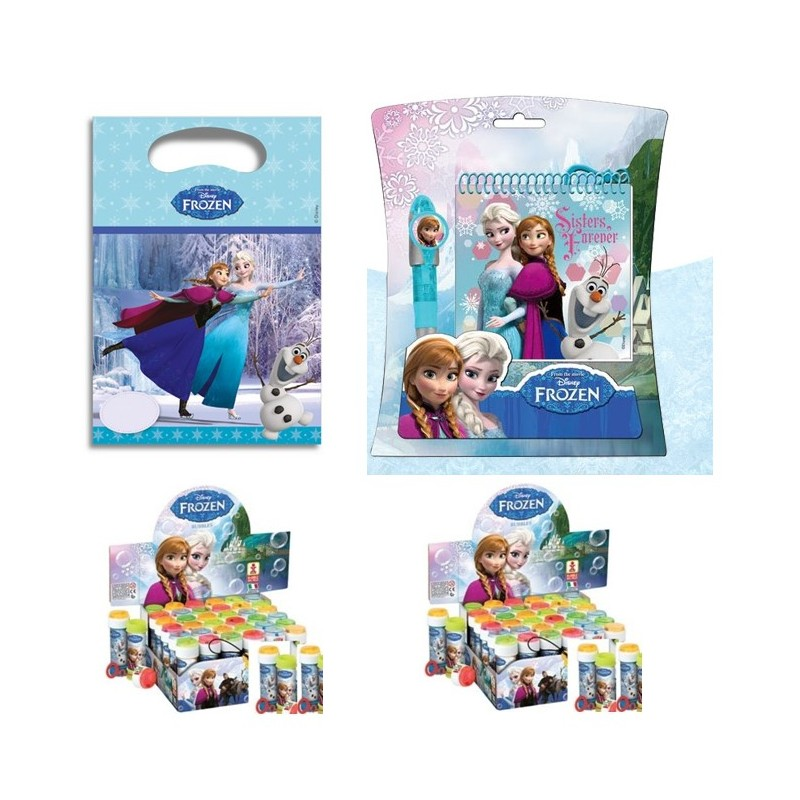 KIT 6 REGALINI PER DOPO FESTA DI FROZEN NEW CON SET BLOCK NOTES E PENNA