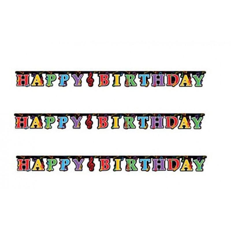 GHIRLANDA FESTONE NOTE MUSICALI HAPPY BIRTHDAY ADDOBBO FESTA COMPLEANNO PARTY