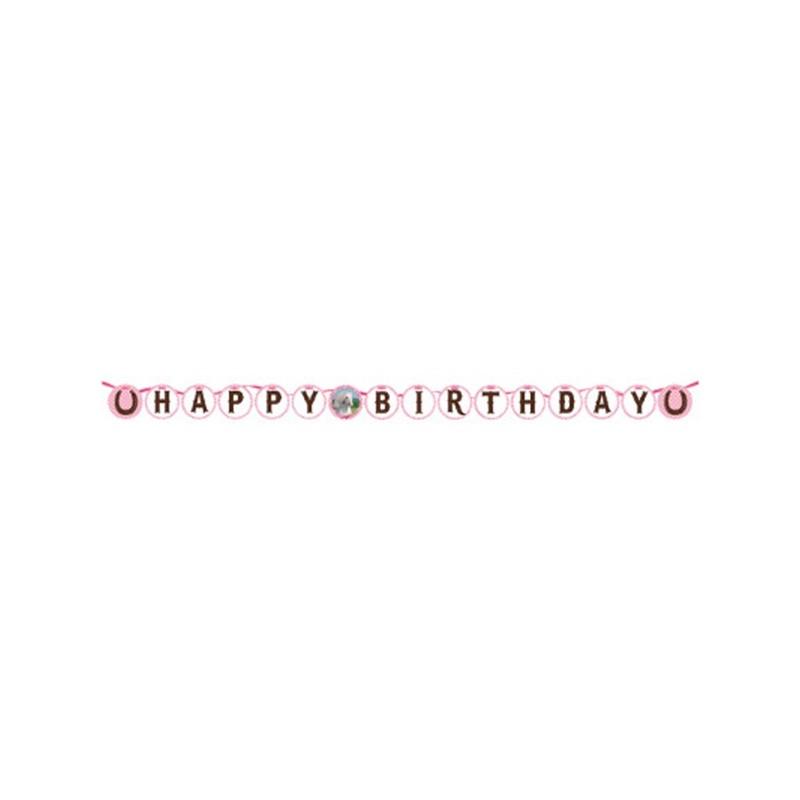 "295601 GHIRLANDA HAPPY BIRTHDAY "" HEART MY HORSE"" CAVALLI ROSA ADDOBBO PARTY"