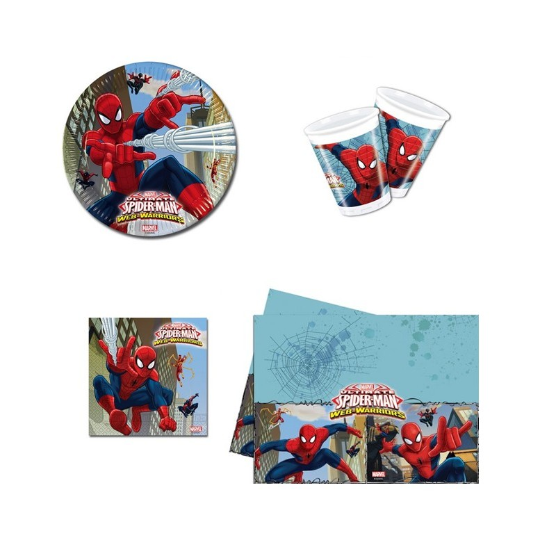 KIT N 3 COORDINATO TAVOLA SPIDERMAN WEB WARRIORS SET COMPLEANNO UOMO RAGNO PARTY